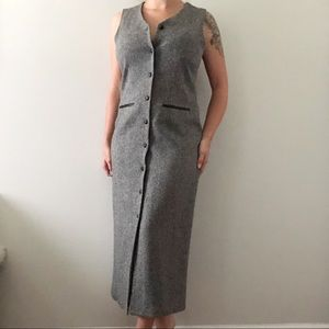 Talbots Gray Wool Button Front Maxi Dress Size 10